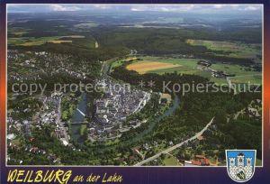 Weilburg Fliegeraufnahme mit Schloss und Lahn Kat. Weilburg Lahn