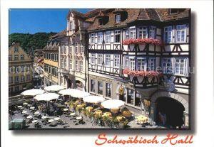 Schwaebisch Hall Gasthof Restaurant Goldener Adler Fachwerkhaus Innenstadt Kat. Schwaebisch Hall