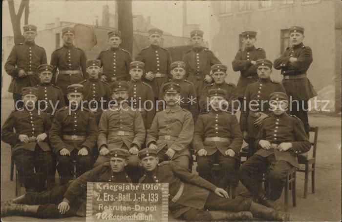 Regiment IR 133 Infanterie  2 ERsatz Bataillon Rekruten Depot WK1 Gruppenfoto