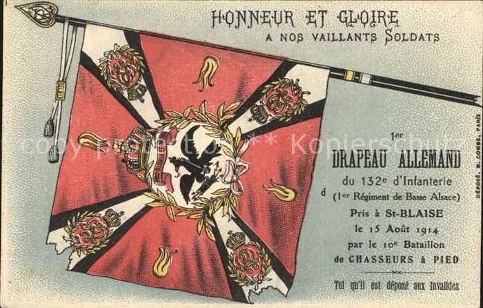 Regiment IR 132 Infanterie Drapeau Allemand  Die Fahne der Infanterie WK1