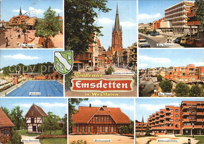Emsdetten Markt Kirchstrasse mit St Pankratius Rathaus Freibad Alter Speicher Deitmarshof Altenwohnheim Kat. Emsdetten