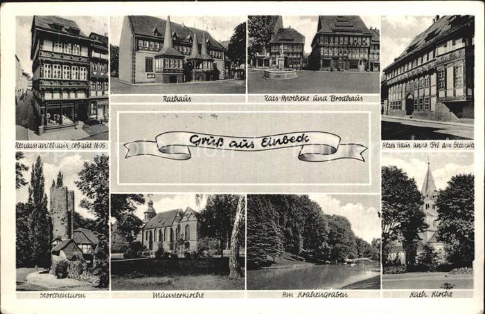 Einbeck Niedersachsen Renaissancehaus 17. Jhdt. Rathaus Apotheke Brodhaus Kirche Krahengraben Storchenturm Kat. Einbeck