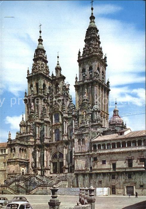 Santiago de Compostela Catedral Fachada del Obradoiro Kathedrale 18. Jhdt. Kat. Santiago de Compostela