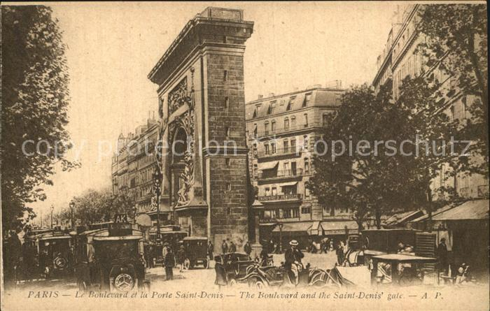 Paris Boulevard et la Porte Saint Denis Kat. Paris