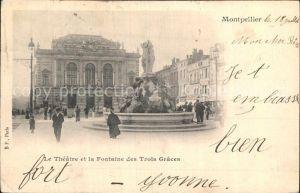 Montpellier Herault Theatre et la Fontaine des Trois Graces Kat. Montpellier