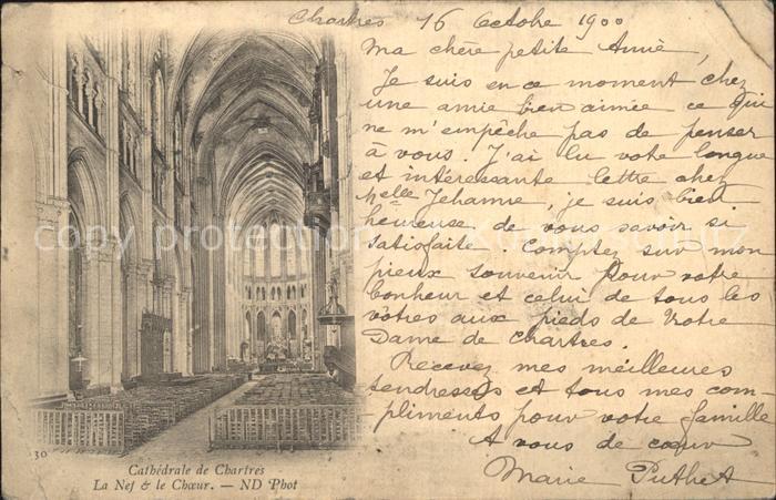 Chartres Eure et Loir Cathedrale La Nef et le Choeur Kat. Chartres