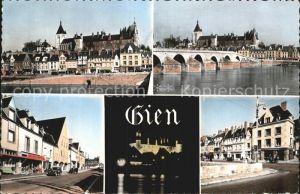 Gien Chateau Pont su la Loire Route de Bourges Chateau illumine Quai Lenoir Kat. Gien