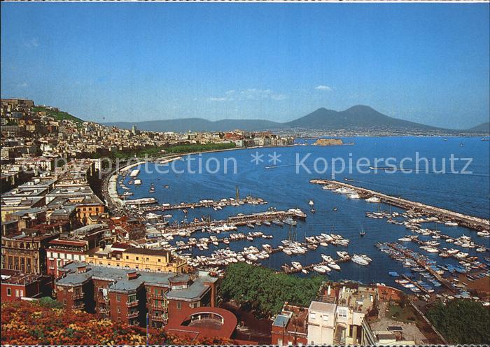 Napoli Neapel Fliegeraufnahme mit Hafen Kat. Napoli