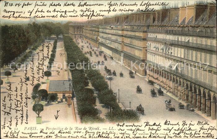 Paris Perspective de la Rue de Rivoli Kat. Paris