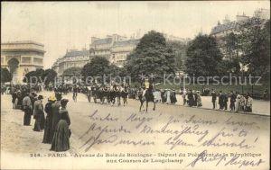 Paris Avenue du Bois de Boulogne Depart du President de la Republique aux Courses de Longchamp Kat. Paris