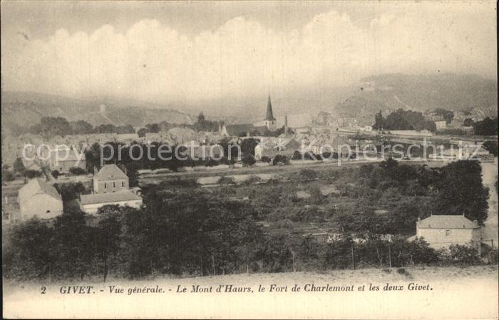 Givet Ardennes Vue generale Mont d Haurs Fort de Charlemont et les deux Givet Kat. Givet