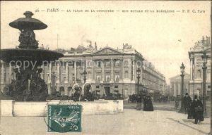 Paris Place de la Concorde Rue Royale et Eglise La Madeleine Stempel auf AK Kat. Paris