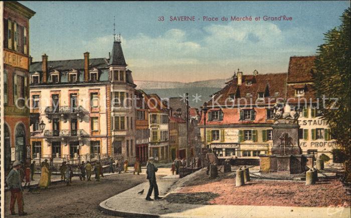 Saverne Bas Rhin Alsace Place du Marchee et Grande Rue Monument Kat. Saverne