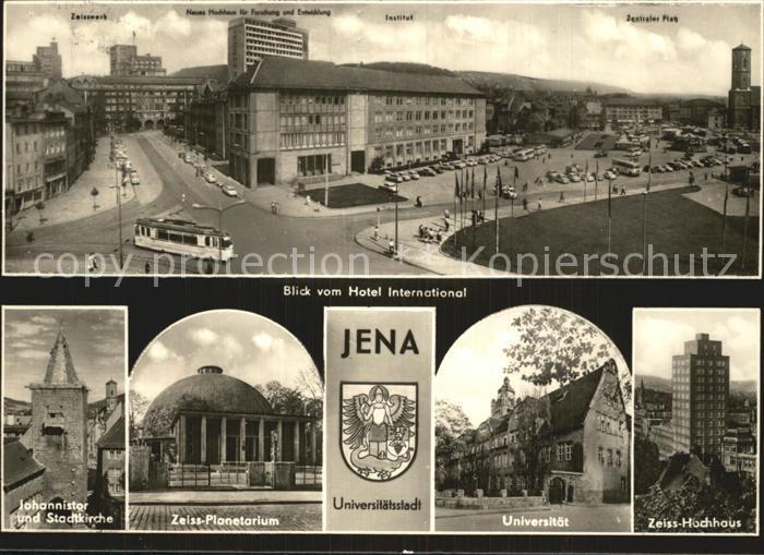 Jena Thueringen Blick vom Hotel International Johannistor Stadtkirche Zeiss Planetarium Universitaet Zeiss Hochhaus