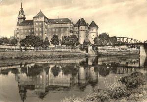Torgau Schloss Hartenfels Elbe Bruecke Wasserspiegelung Kat. Torgau