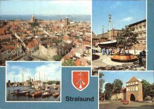Stralsund Mecklenburg Vorpommern Blick von Sankt Marien Kutter Meeresmuseum Hafen Kat. Stralsund