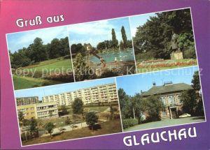 Glauchau Rosarium Freibad Agricola Denkmal Alte Webschule Kat. Glauchau