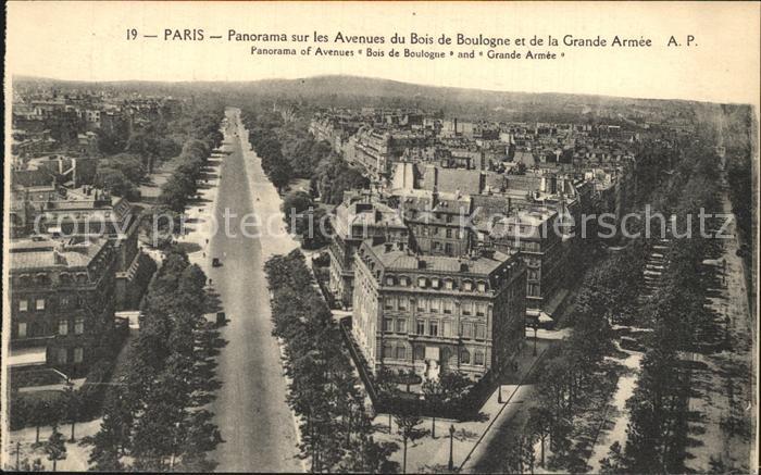 Paris Panorama sur les Avenues du Bois de Boulogne et de la Grande Armee Kat. Paris