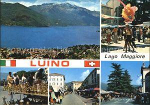 Luino Lago Maggiore Panorama und Markt   Kat. Lago Maggiore