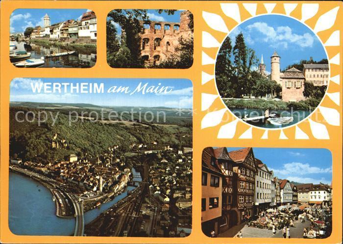 Wertheim Main Mainpartie Ruine Burg Fliegeraufnahme Marktplatz Kat. Wertheim