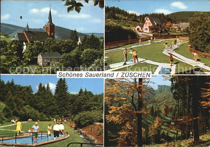 Zueschen Sauerland Ortsansicht mit Kirche Wassertreten Waldpartie Herbststimmung Minigolf Kat. Winterberg