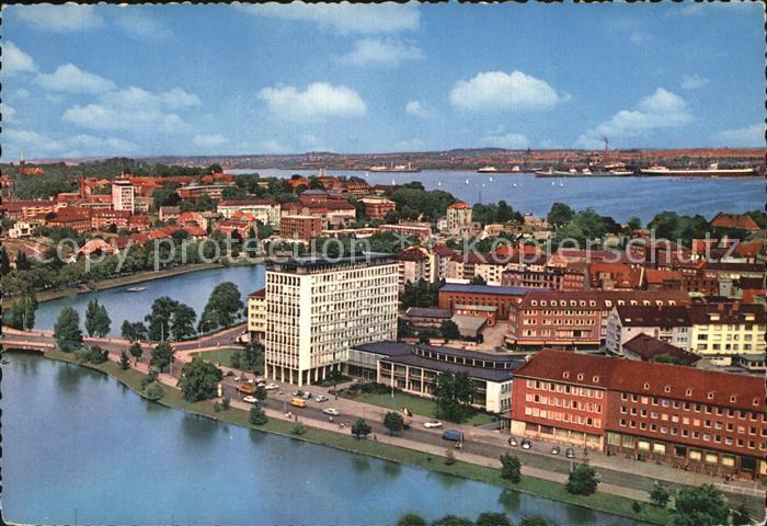 Kiel Blick auf Stadt und Hafen Fliegeraufnahme Kat. Kiel