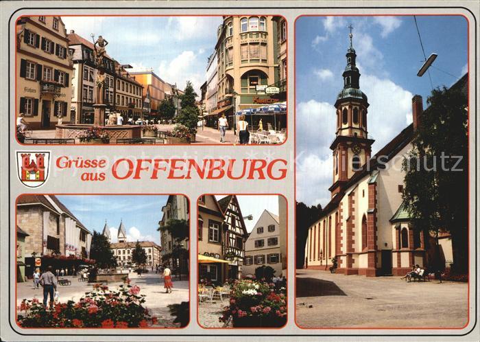 Offenburg Markt Brunnen Kirche Kat. Offenburg
