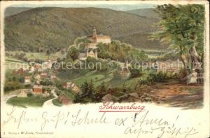 Schwarzburg Thueringer Wald Panorama Litho Kat. Schwarzburg