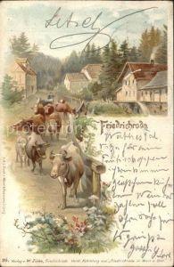 Friedrichroda Viehtrieb durch den Ort Kuehe Litho Kat. Friedrichroda