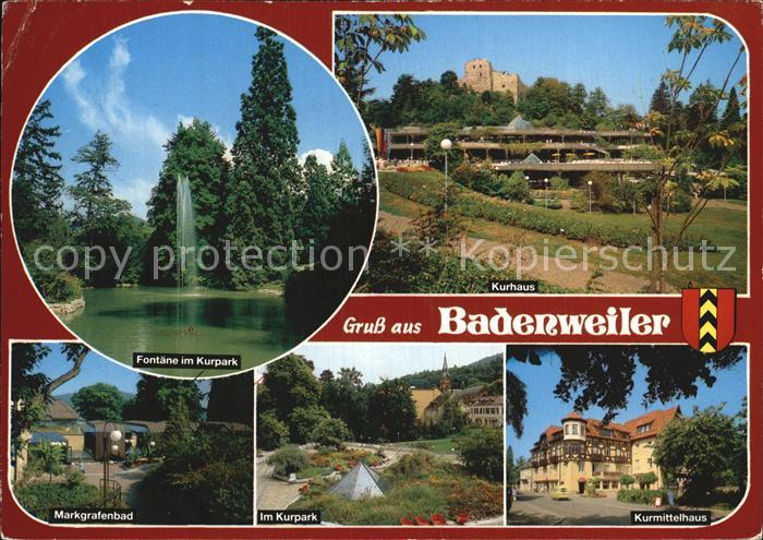 Badenweiler Fontaene Kurpark Kurhaus Markgrafenbad Kurmittelhaus Kat. Badenweiler