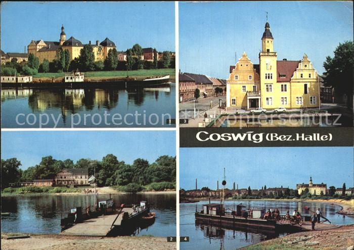 Coswig Sachsen Schloss Elbfaehre Rathaus Elbepartie Kat. Coswig