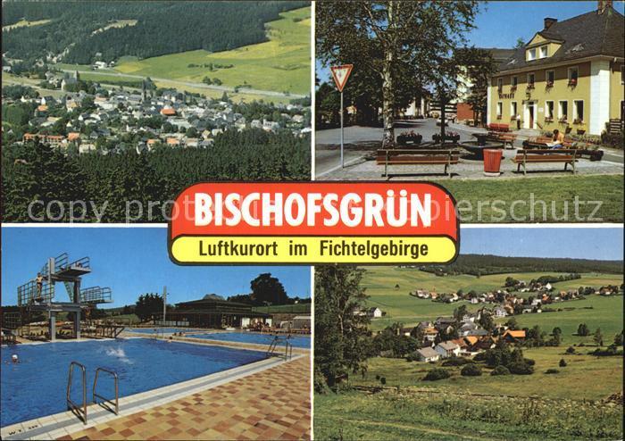 Bischofsgruen Panorama Dorfpartie Schwimmbad Panorama Kat. Bischofsgruen