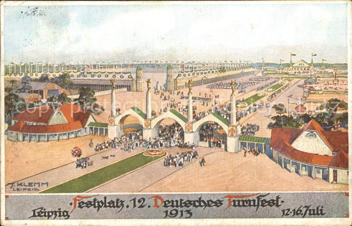 Leipzig Festplatz 12. Deutsches Turnfest Offizielle Festpostkarte Nr 1 Litho Kat. Leipzig