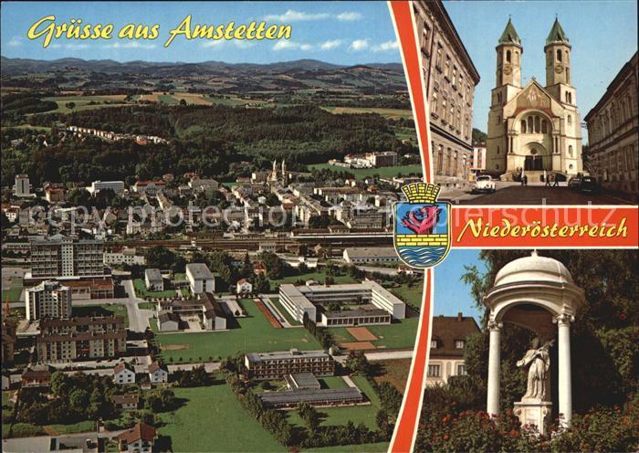 Amstetten Niederoesterreich Fliegeraufnahme Herz Jesu Kirche Statue des hl Nepomuk Kat. Amstetten