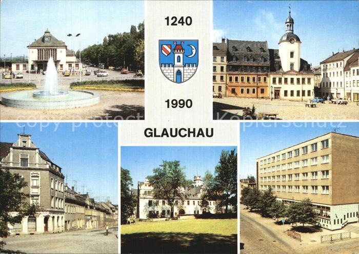 Glauchau Bahnhof Markt mit  Rathaus Schloss Forderglauchau Kat. Glauchau