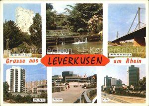 Leverkusen Bayer Hochhaus Japan Garten Autobahnbruecke Heidgen Forum City Kat. Leverkusen
