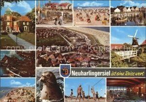 Neuharlingersiel Badestrand Windmuehle Landhaus Sielhopf Seehund Kat. Neuharlingersiel