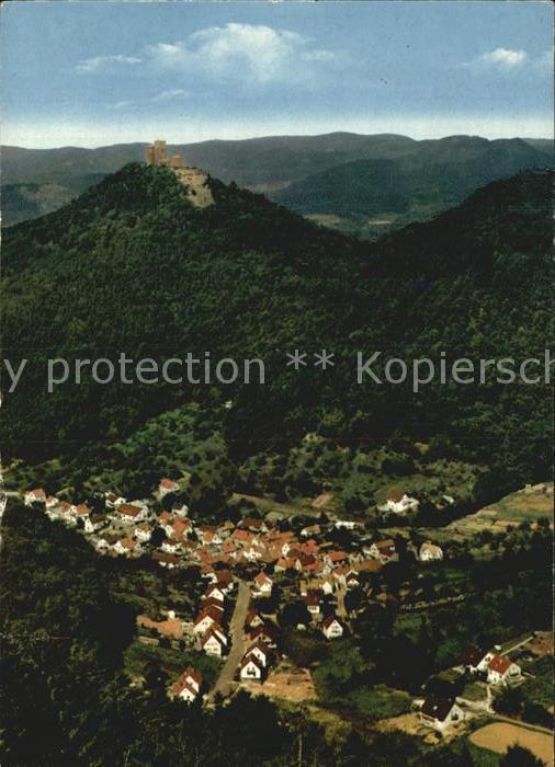 Bindersbach Panorama Blick vom Rehberg Burgruine Kat. Annweiler am Trifels