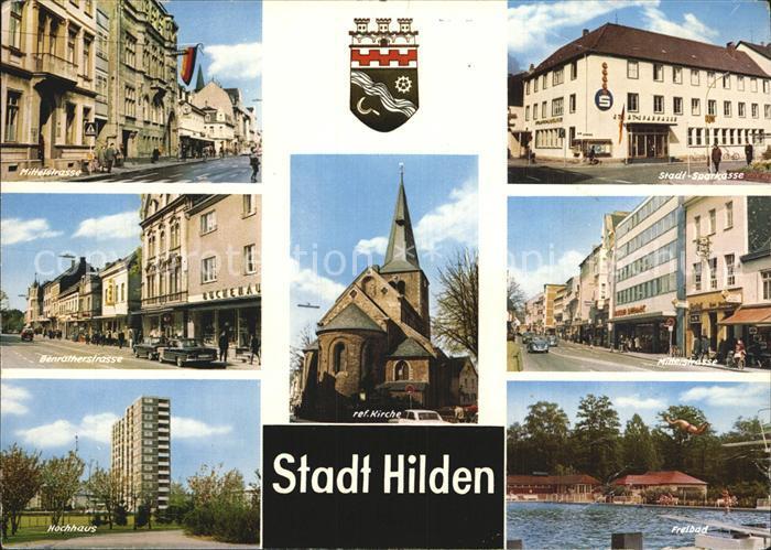 Hilden Mettmann Strassenpartien Sparkasse Kirche Hochhaus Freibad Kat. Hilden