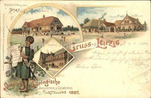 Leipzig Ansichten aus dem Dorf Saechsisch Thueringische Industrie und Gewerbe Ausstellung Litho Kat. Leipzig