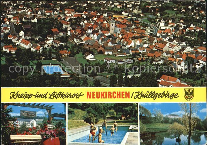 Neukirchen Knuellgebirge Stadtblick Kuranlage Wassertreten Schwanenteich Kat. Neukirchen