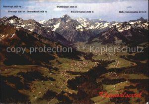 Kleinwalsertal Alpenpanorama Fliegeraufnahme Kat. Oesterreich