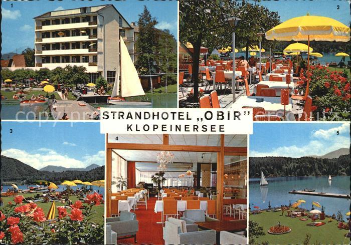 St Kanzian Klopeiner See Strandhotel Obir Terrasse am See Ausblick von der Terrasse  Kat. St. Kanzian am Klopeiner See