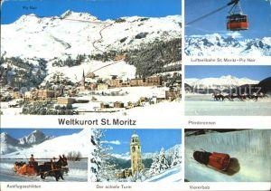 St Moritz GR Panorama Seilbahn St Moritz Piz Nair Ausflugsschlitten Schiefer Turm Viererbob Kat. St Moritz