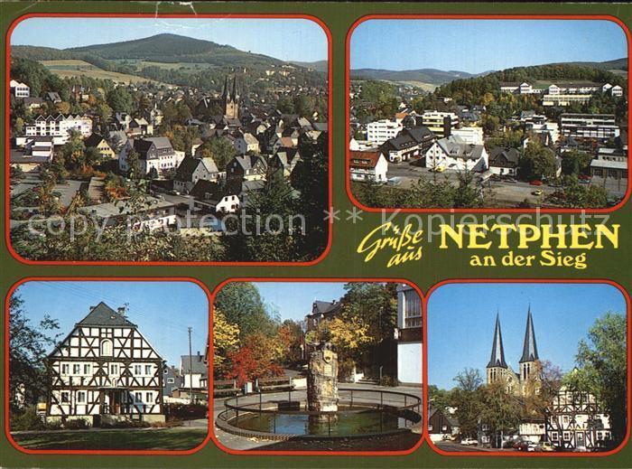 Netphen Panorama Ortsblick Fachwerkhaus Brunnen Kirche Kat. Netphen