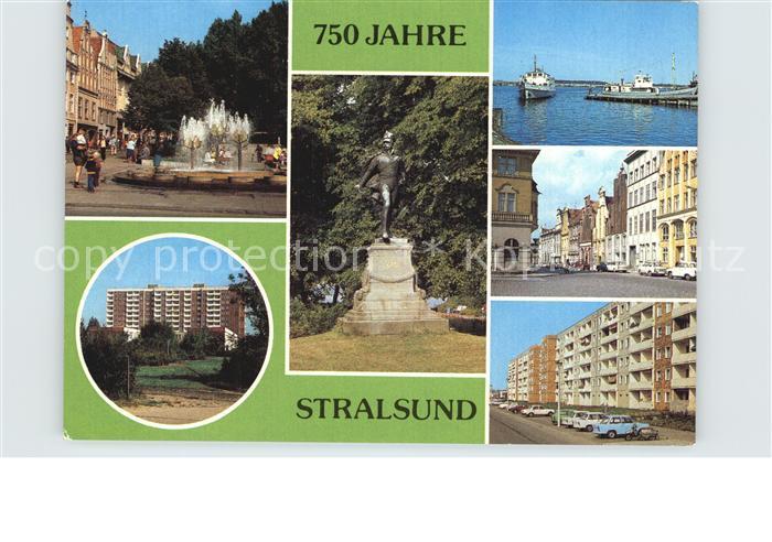 Stralsund Mecklenburg Vorpommern Ossenreyer Strasse Rud Leonhard Weg Ferdinand von Schill Denkmal Anlegestelle Muehlenstr Heinrich Heine Ring Kat. Stralsund