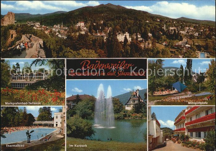 Badenweiler Gesamtansicht Markgrafenbad Terrasse Thermalbad Kurpark Minigolfplatz Kat. Badenweiler