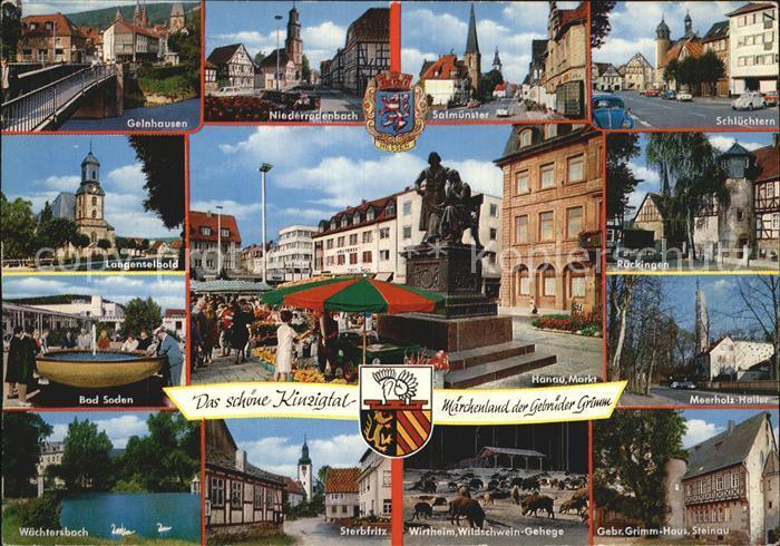 ak ansichtskarte langenselbold kirche marktplatz mit goldenem engel schule am weinberg. Black Bedroom Furniture Sets. Home Design Ideas