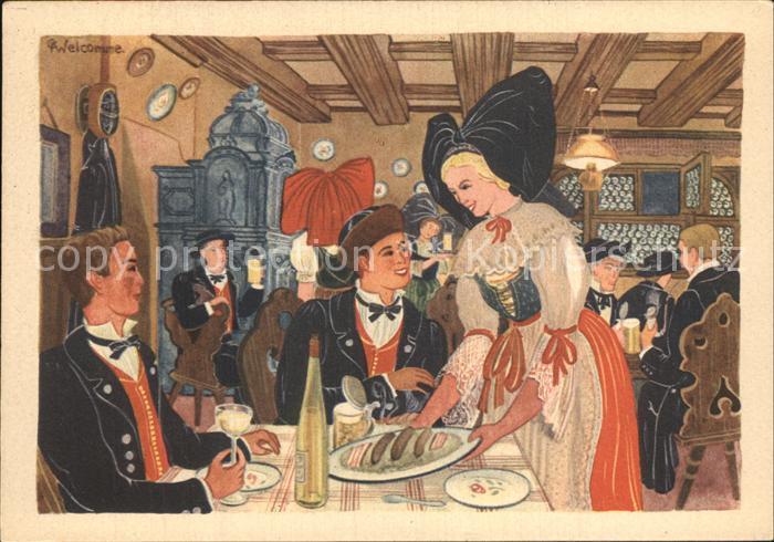 Alsace Elsass La Brasserie Kuenstlerkarte Kat. Epinal