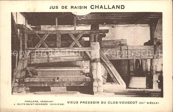 Nuits Saint Georges Jus de Raisin Challand vieux pressoir du Clos Vougeot Kat. Nuits Saint Georges